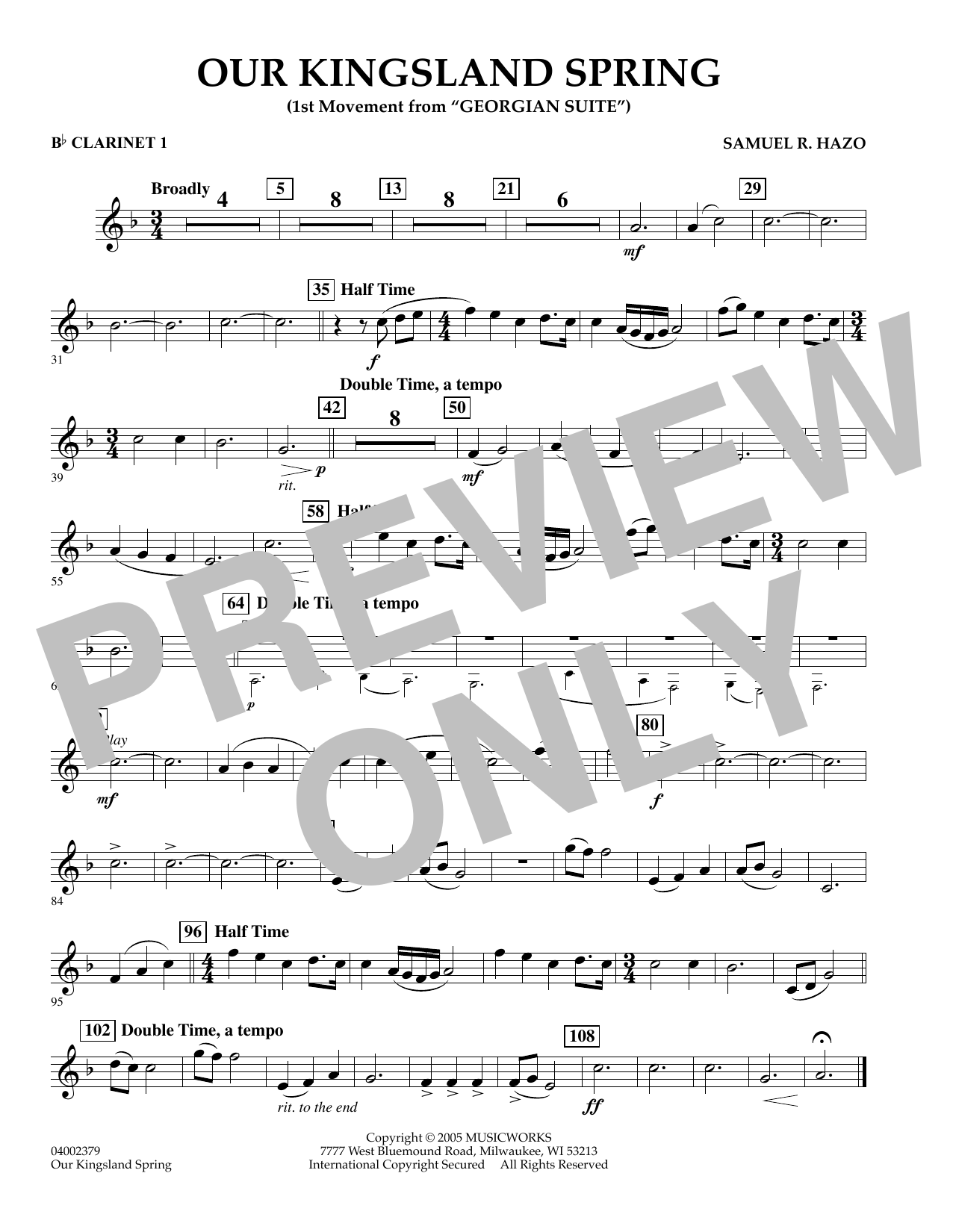 """Our Kingsland Spring (Movement I of """"Georgian Suite"""") - Bb Clarinet 1 (Concert Band)"""