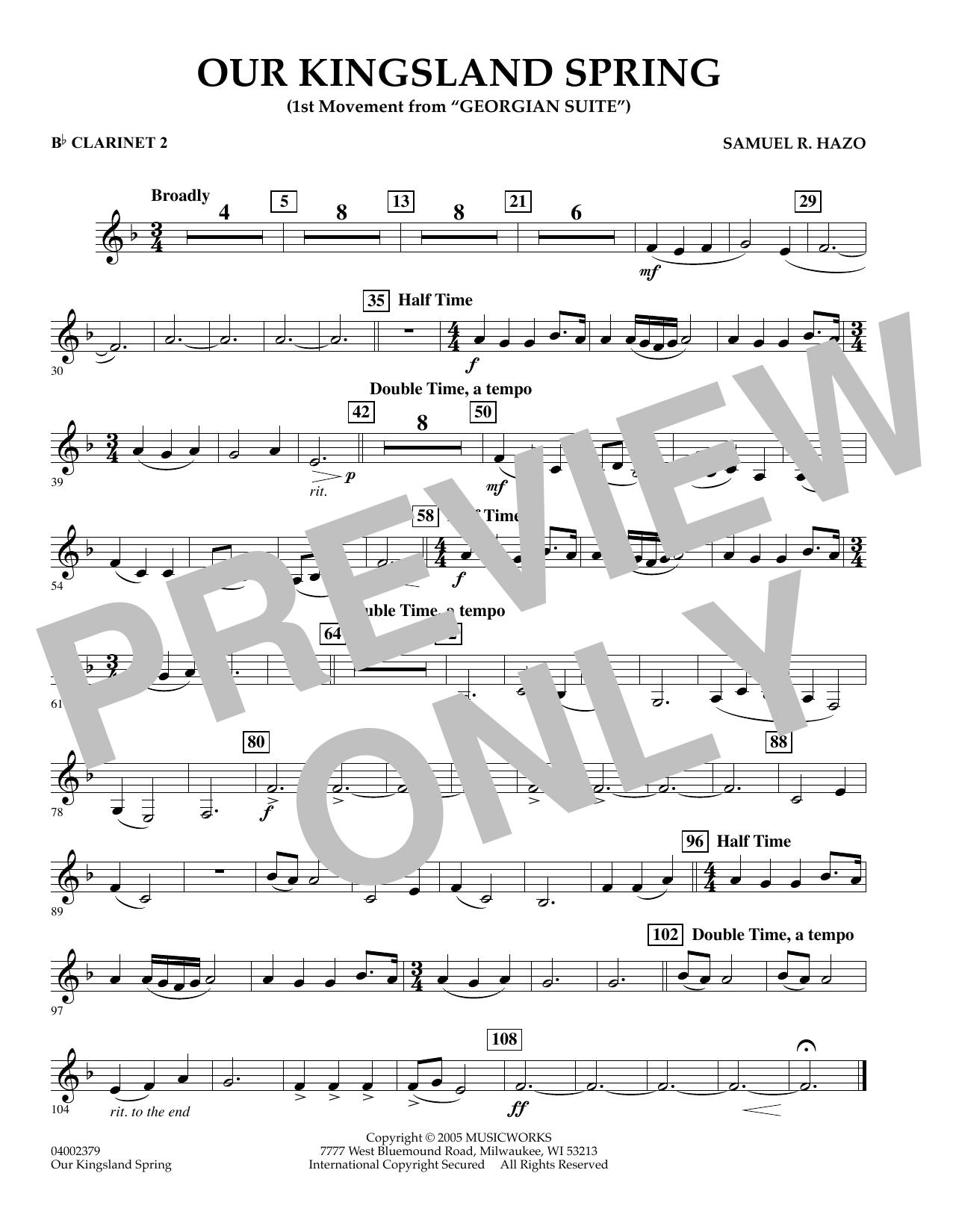 """Our Kingsland Spring (Movement I of """"Georgian Suite"""") - Bb Clarinet 2 (Concert Band)"""
