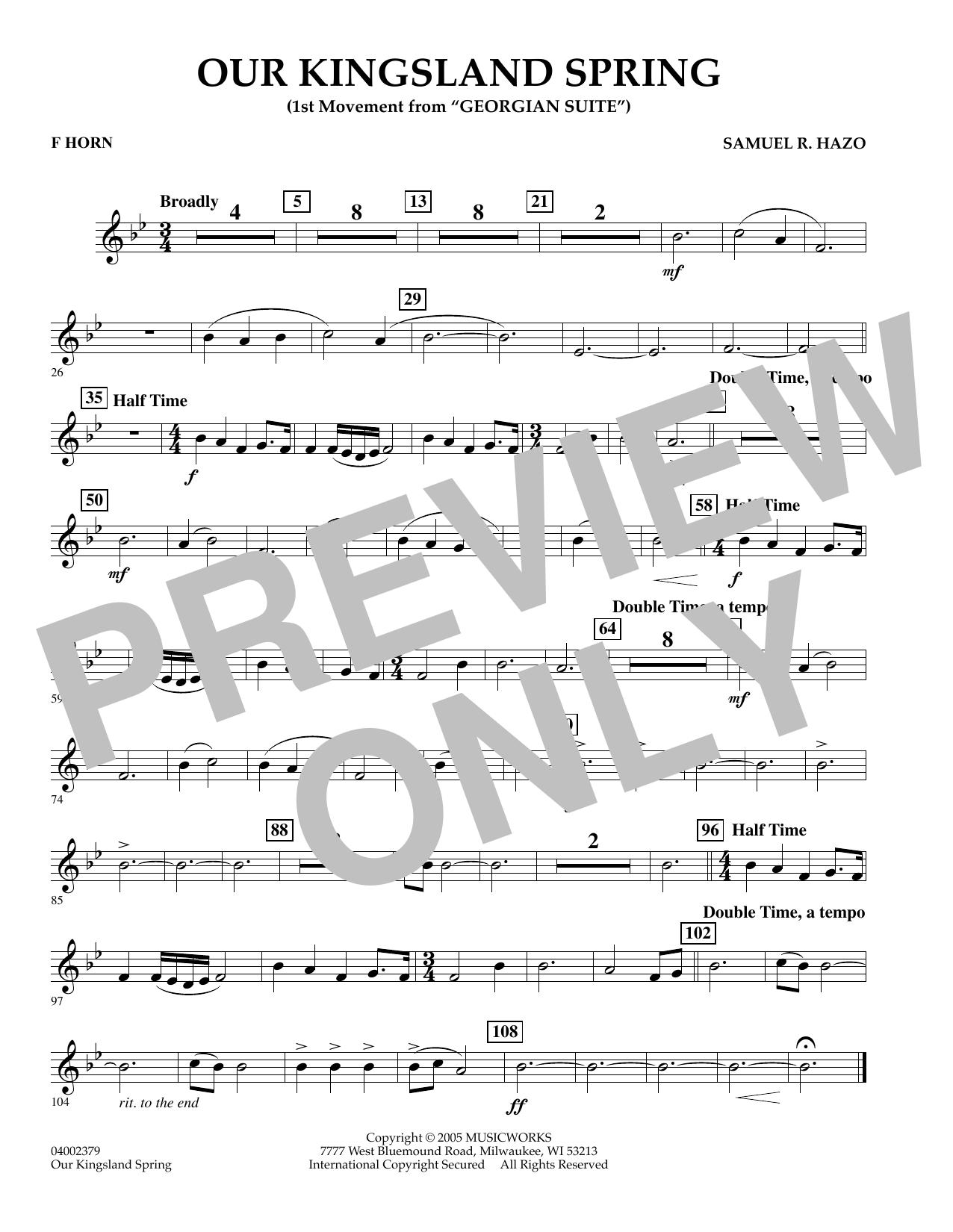 "Our Kingsland Spring (Movement I of ""Georgian Suite"") - F Horn (Concert Band)"