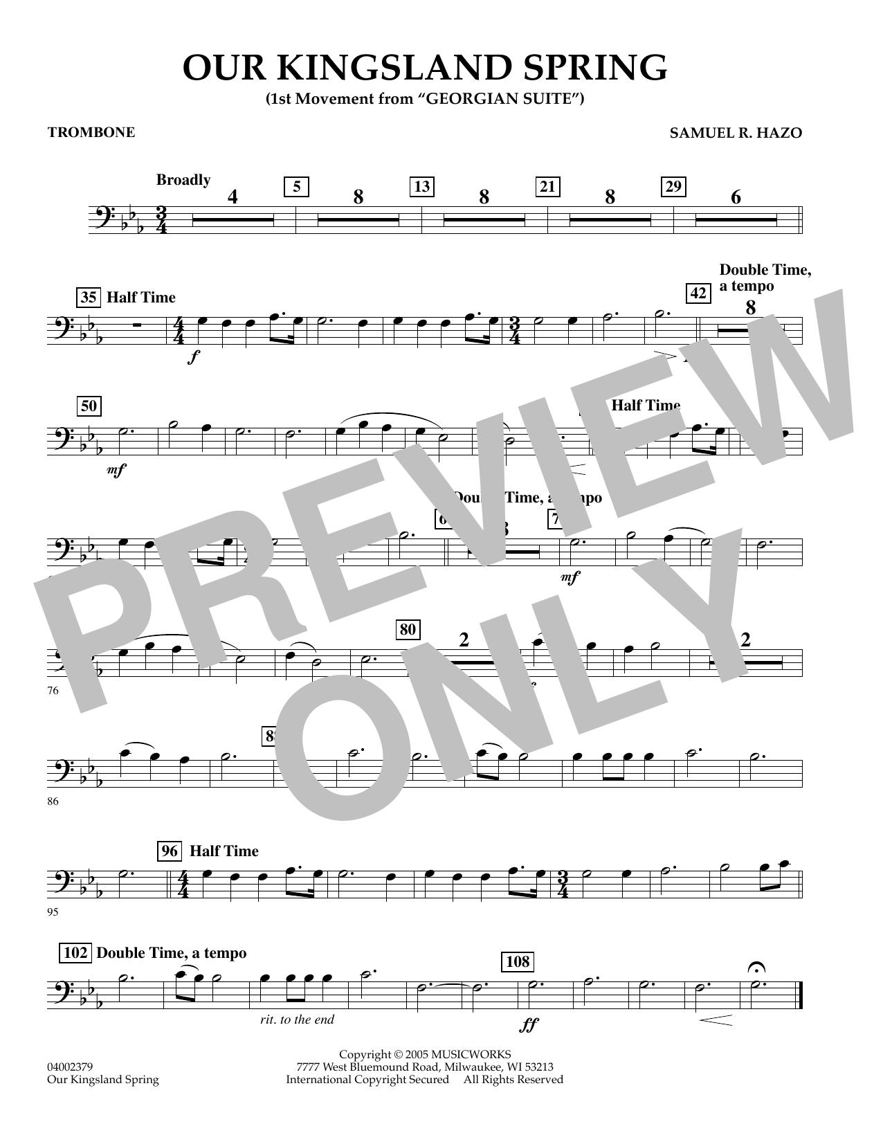 "Our Kingsland Spring (Movement I of ""Georgian Suite"") - Trombone (Concert Band)"