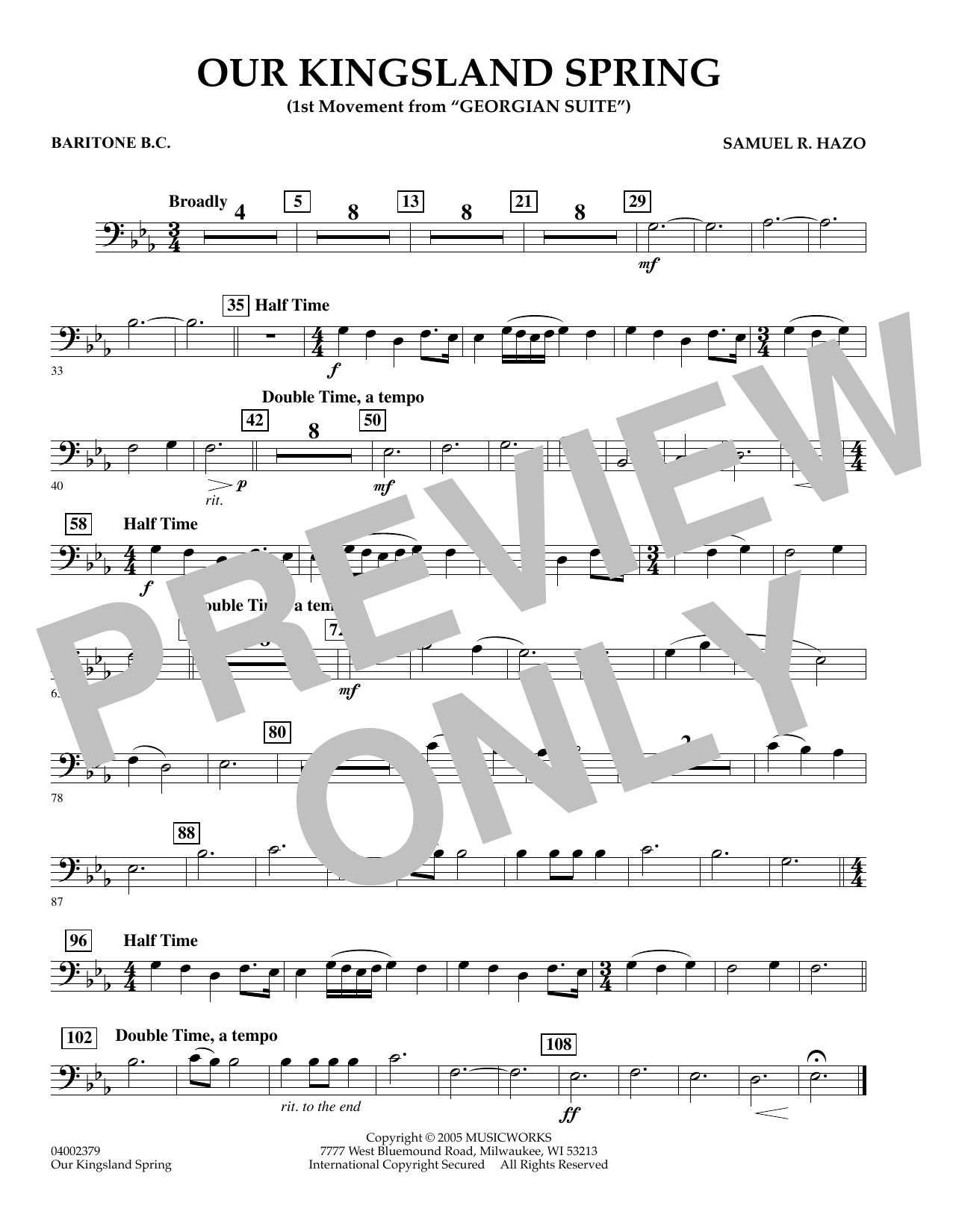"Our Kingsland Spring (Movement I of ""Georgian Suite"") - Baritone B.C. (Concert Band)"