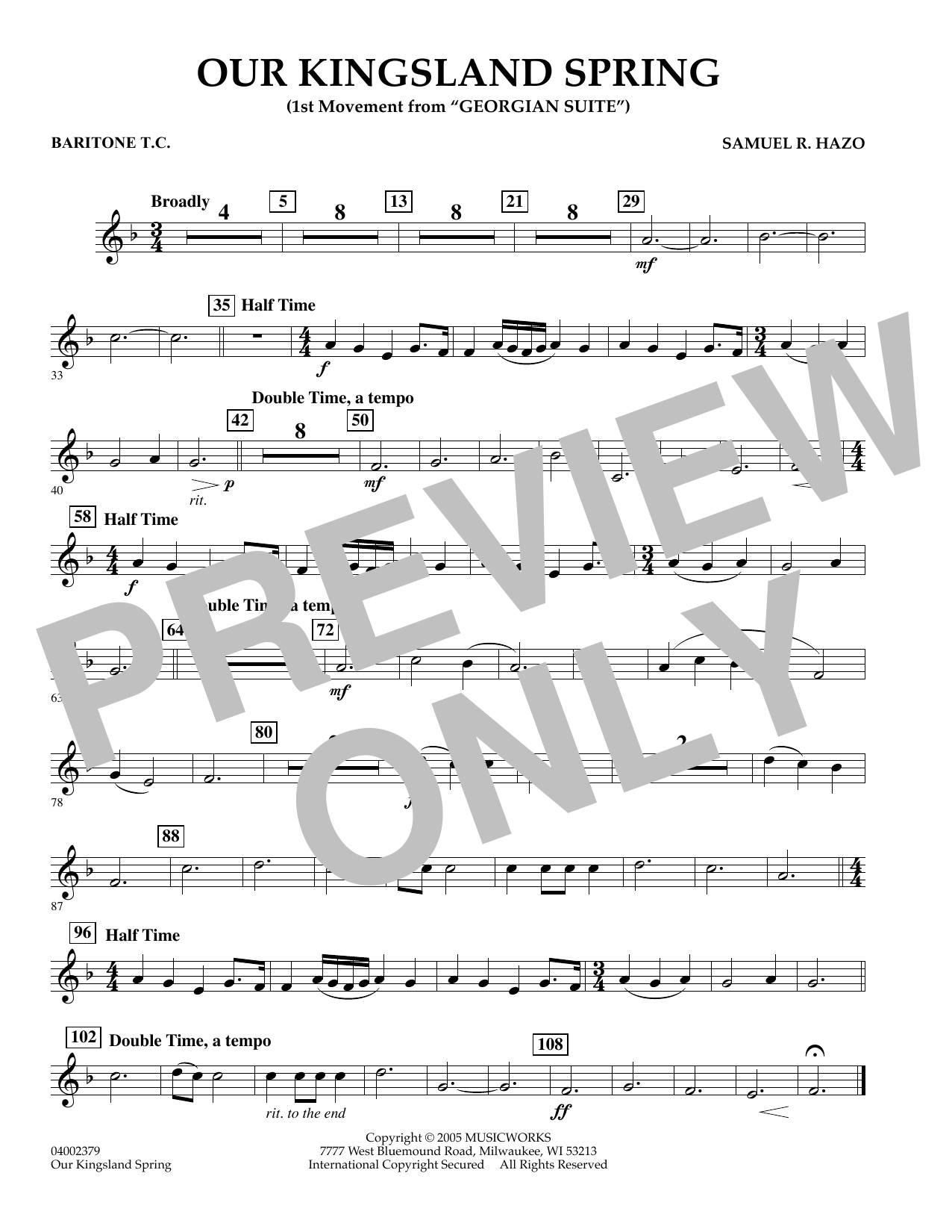 """Our Kingsland Spring (Movement I of """"Georgian Suite"""") - Baritone T.C. (Concert Band)"""