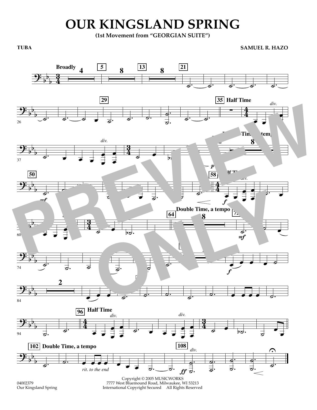 "Our Kingsland Spring (Movement I of ""Georgian Suite"") - Tuba (Concert Band)"