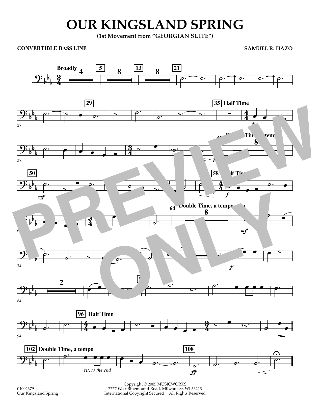 """Our Kingsland Spring (Movement I of """"Georgian Suite"""") - Convertible Bass Line (Concert Band)"""