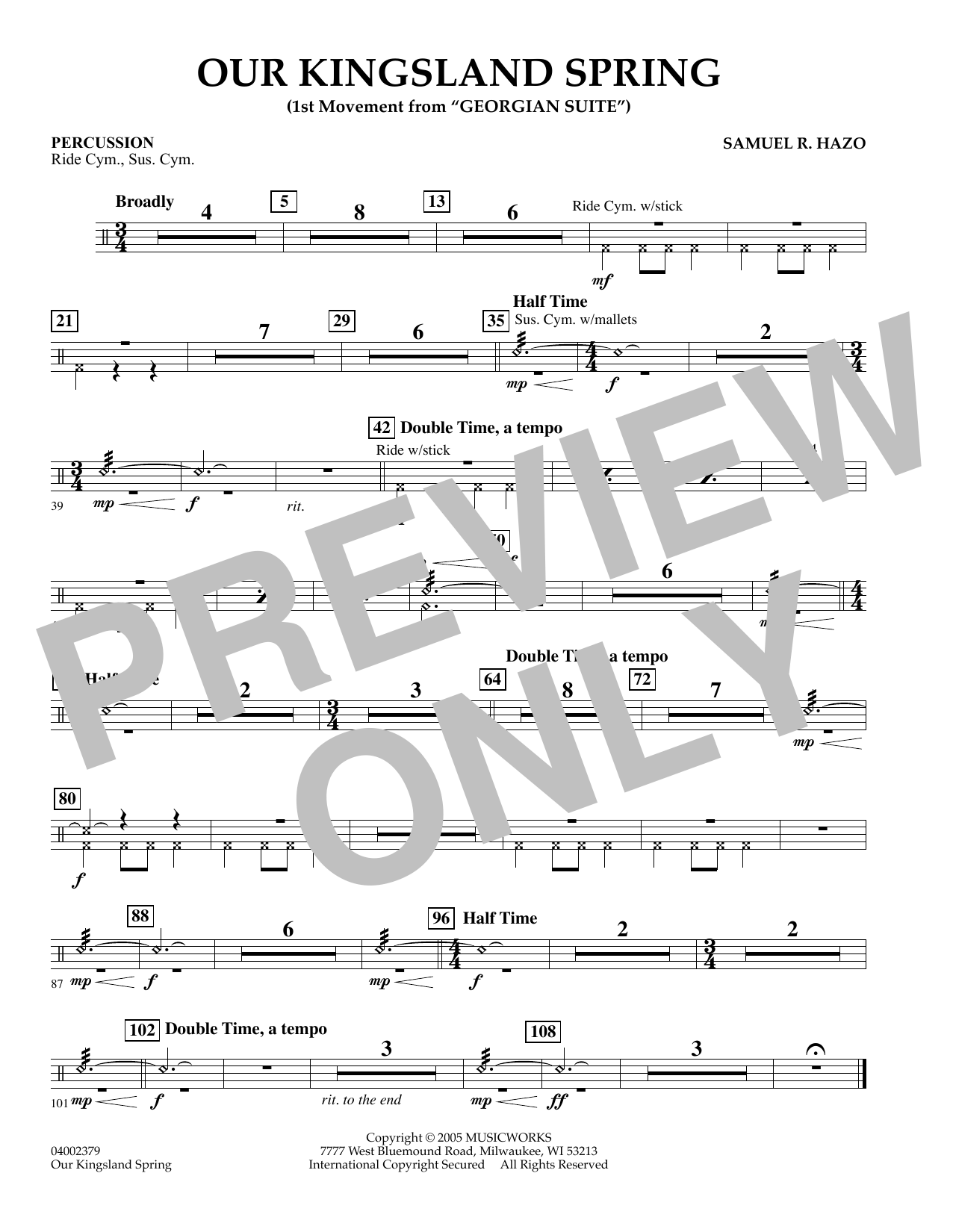 """Our Kingsland Spring (Movement I of """"Georgian Suite"""") - Percussion (Concert Band)"""