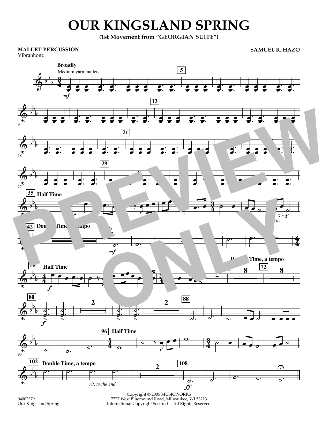 """Our Kingsland Spring (Movement I of """"Georgian Suite"""") - Mallet Percussion (Concert Band)"""