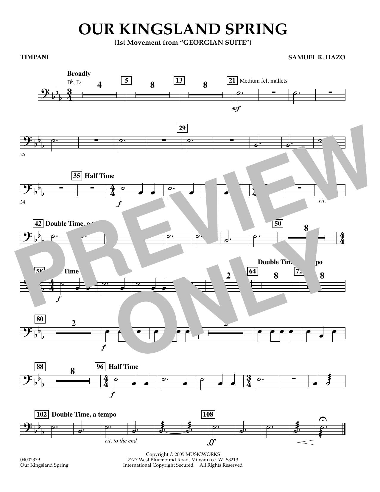 "Our Kingsland Spring (Movement I of ""Georgian Suite"") - Timpani (Concert Band)"
