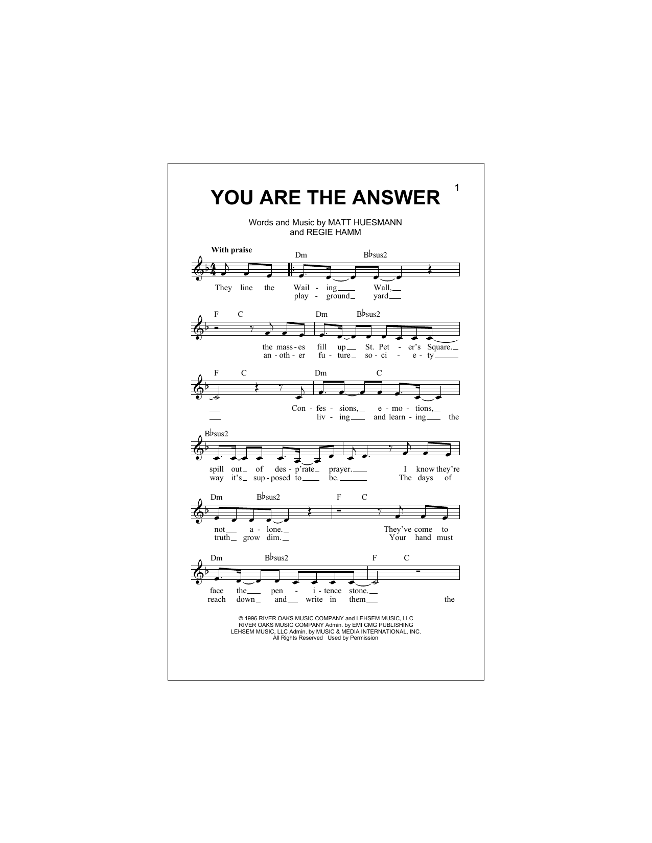 You Are The Answer (Lead Sheet / Fake Book)
