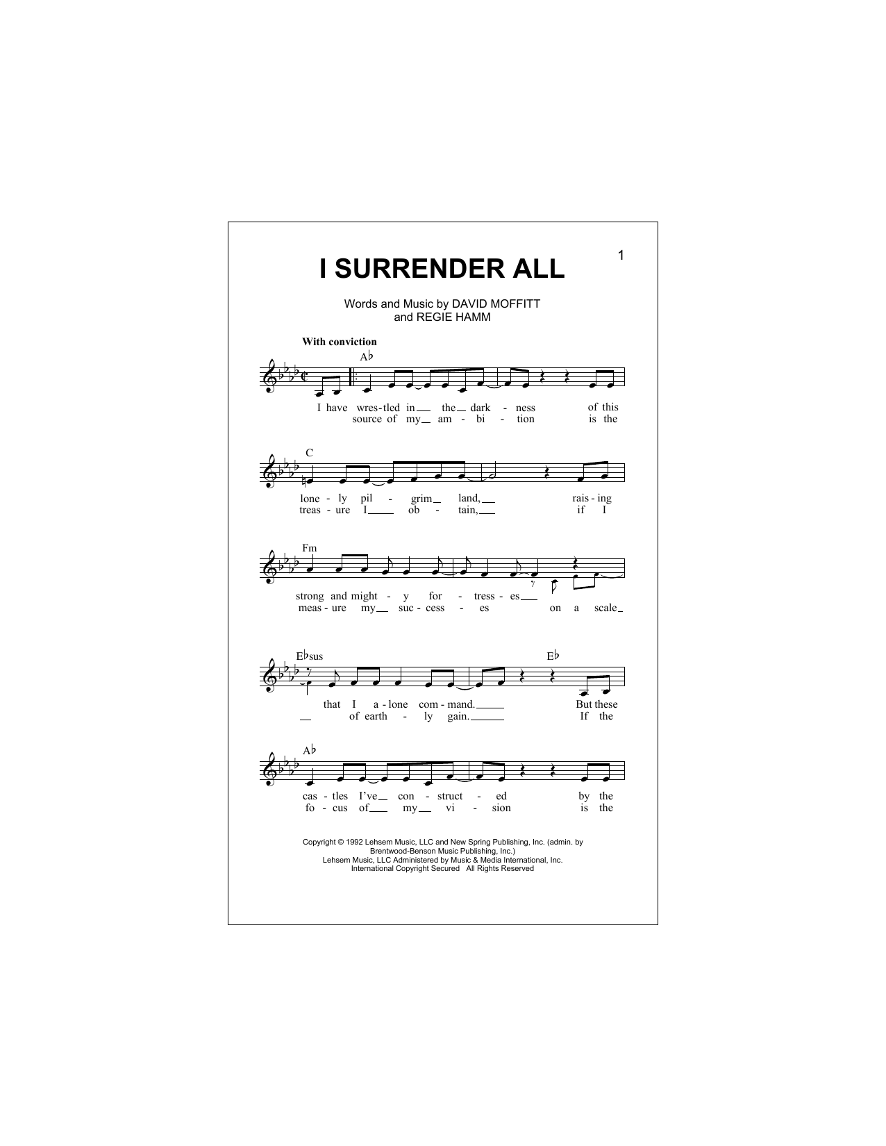 I Surrender All (Lead Sheet / Fake Book)