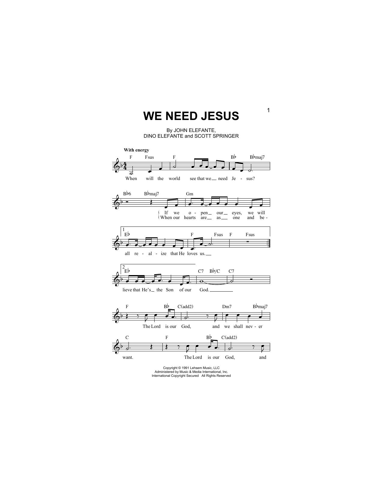 We Need Jesus (Lead Sheet / Fake Book)