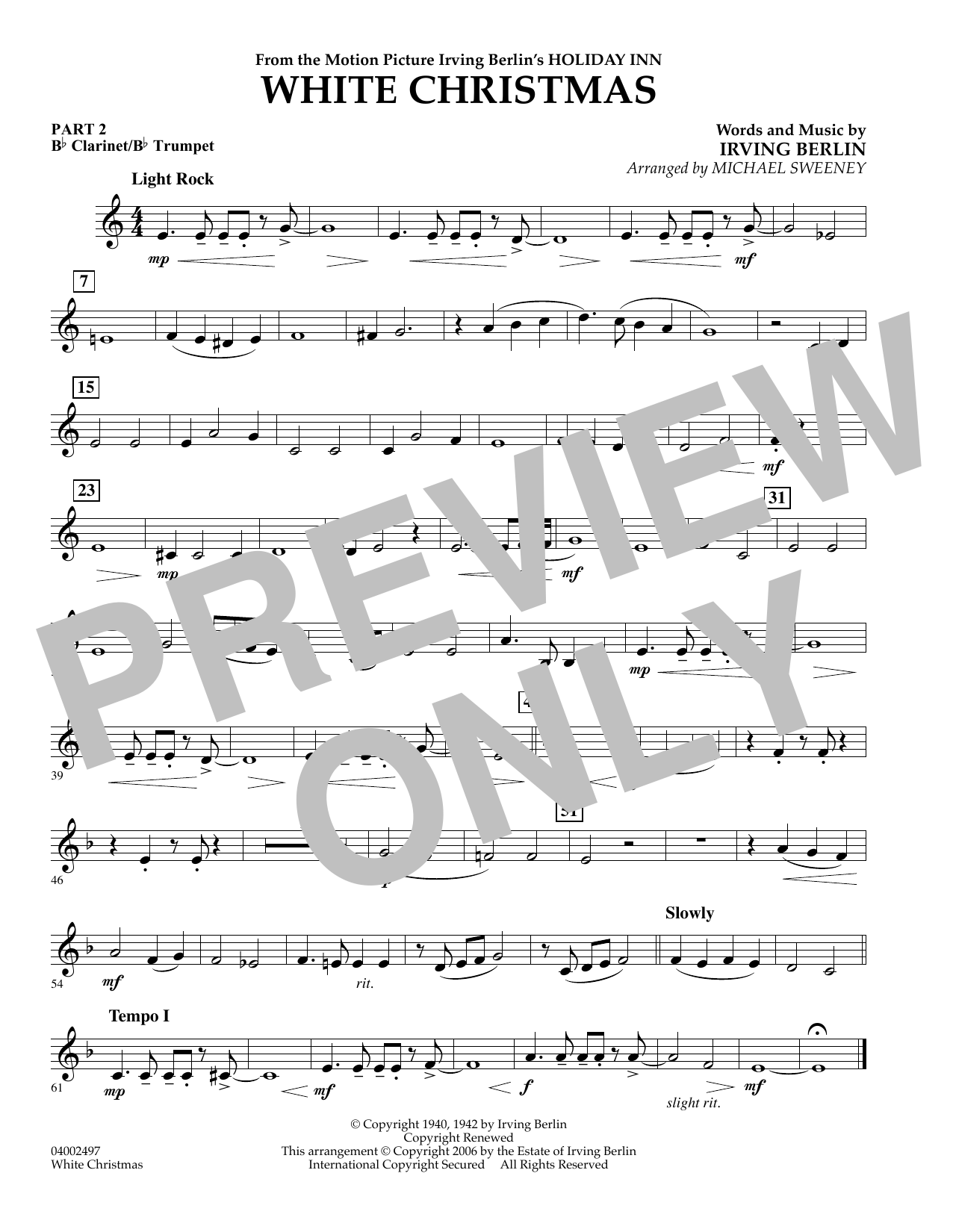 page one of White Christmas (Flex-Band) - Pt.2 - Bb Clarinet/Bb TrumpetASALTTEXT