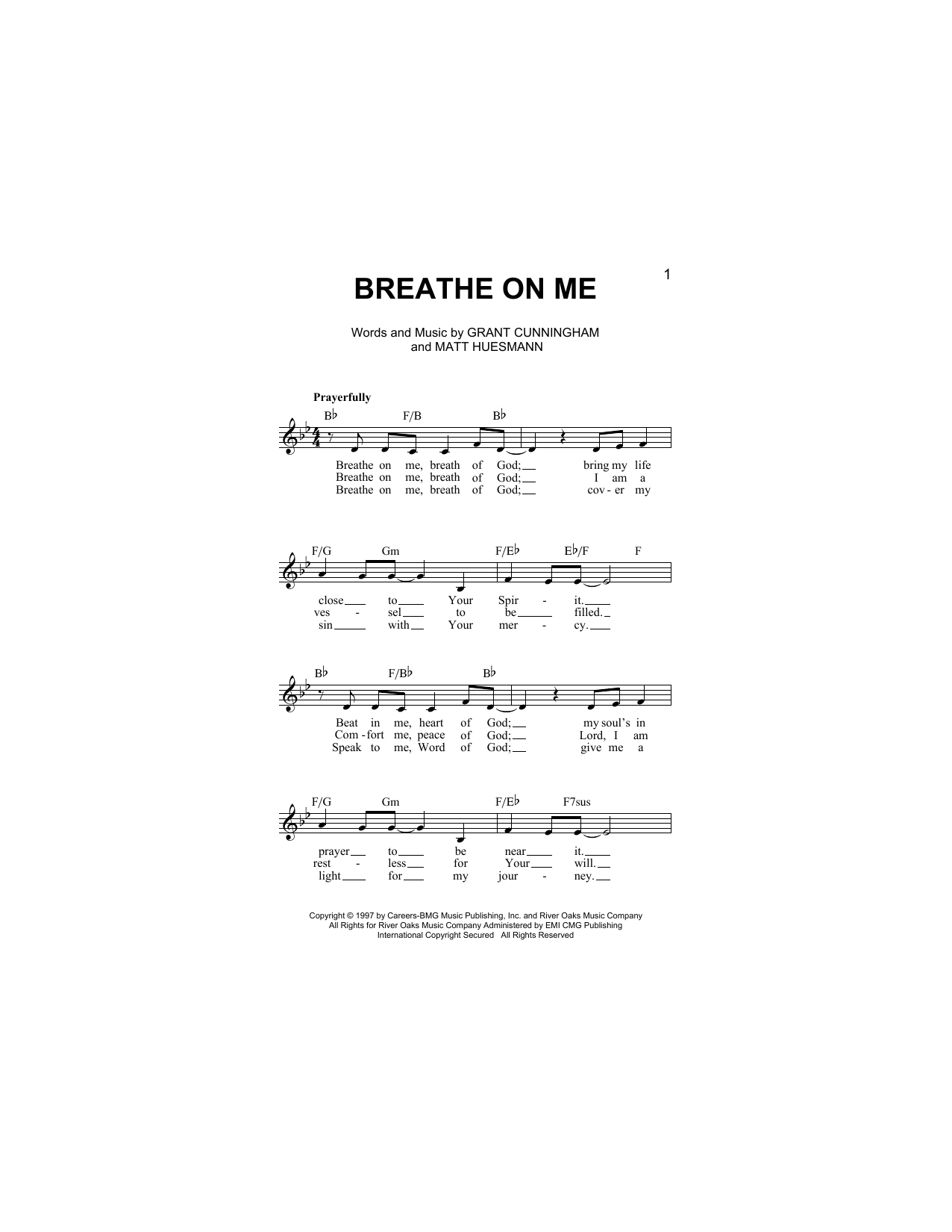 Breathe On Me (Lead Sheet / Fake Book)