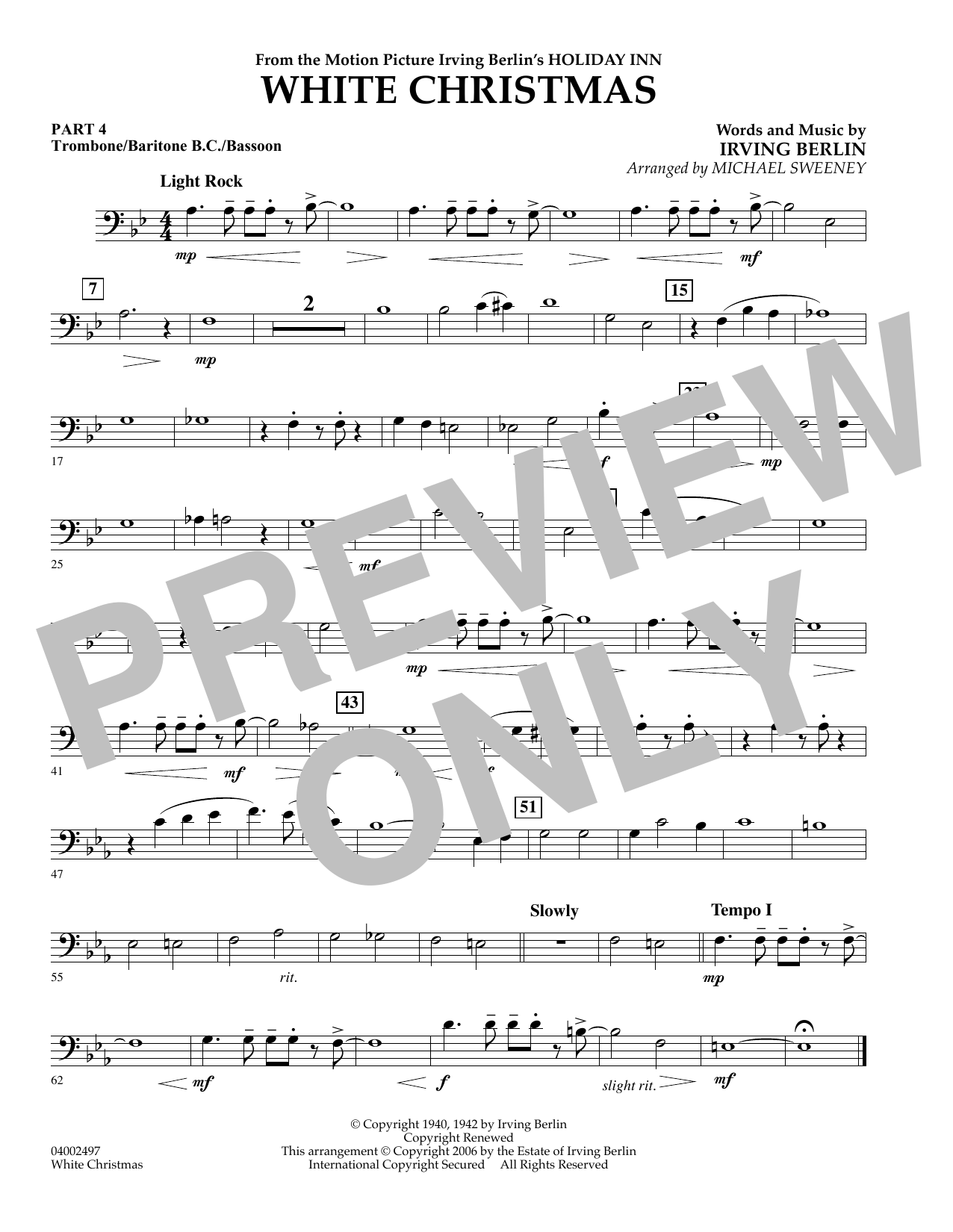 page one of White Christmas (Flex-Band) - Pt.4 - Trombone/Bar. B.C./Bsn.ASALTTEXT