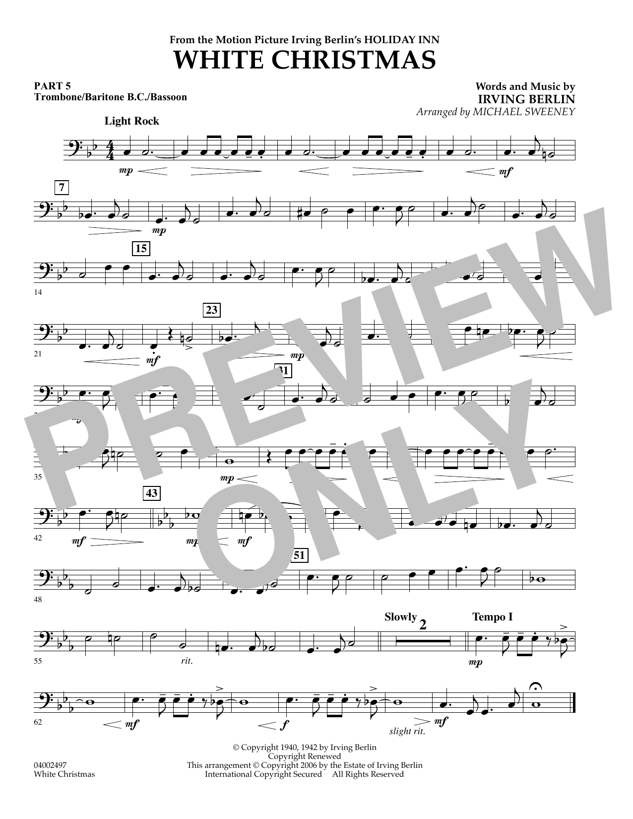 page one of White Christmas (Flex-Band) - Pt.5 - Trombone/Bar. B.C./Bsn.ASALTTEXT