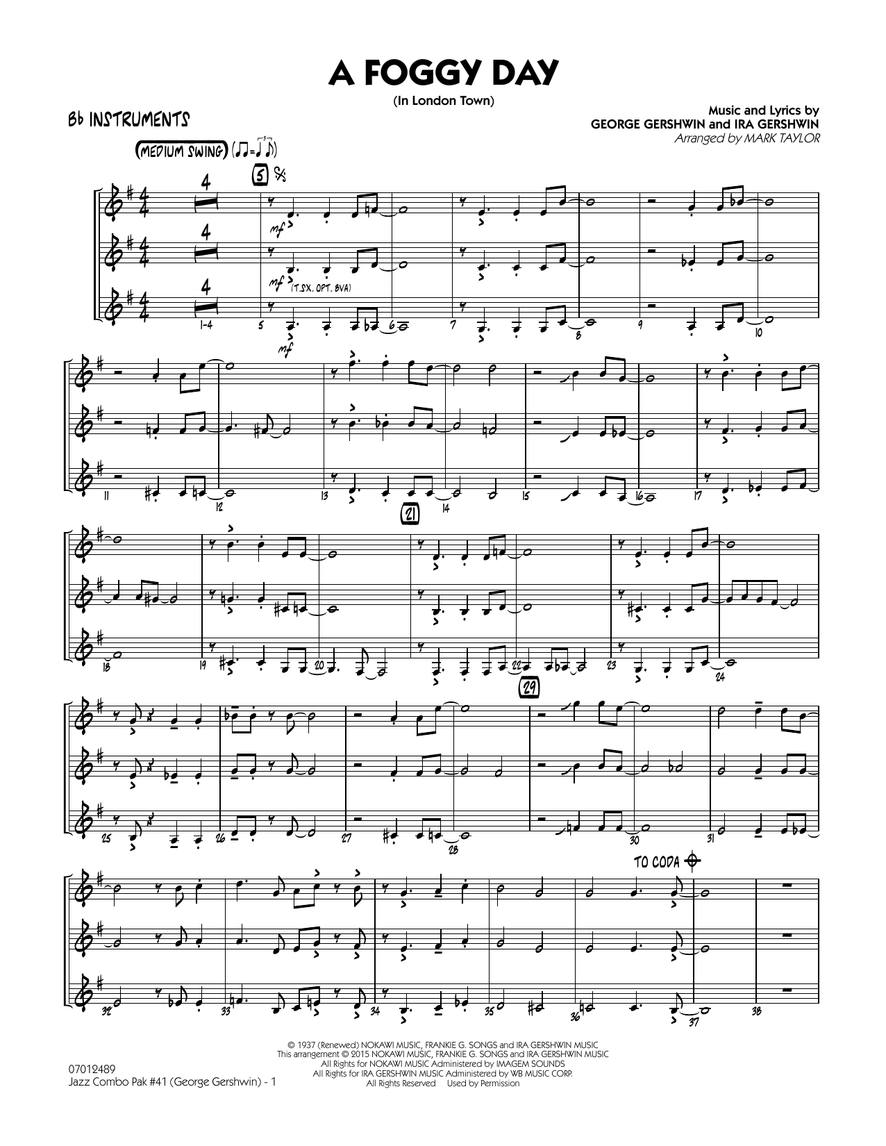 Jazz Combo Pak #41 (George Gershwin) - Bb Instruments (Jazz Ensemble)
