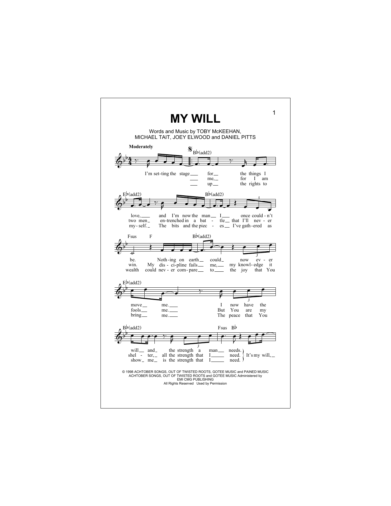 My Will Sheet Music