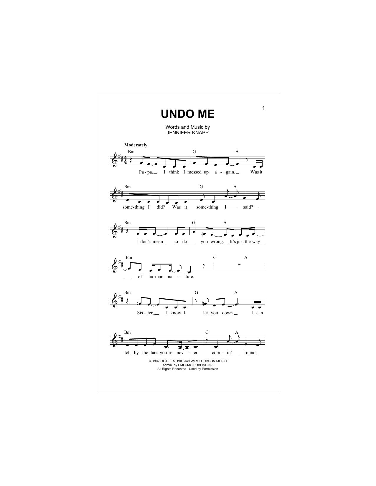 Undo Me (Lead Sheet / Fake Book)