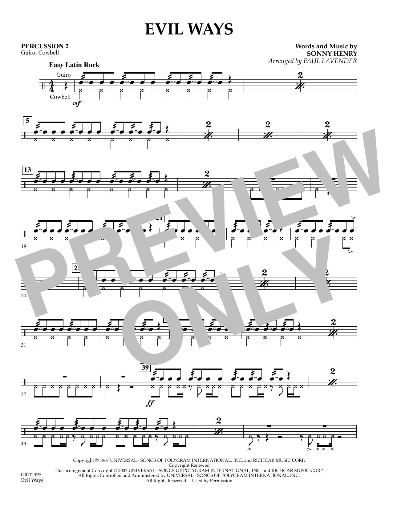 Evil Ways (Flex-Band) - Percussion 2 by Paul Lavender Concert Band Digital  Sheet Music