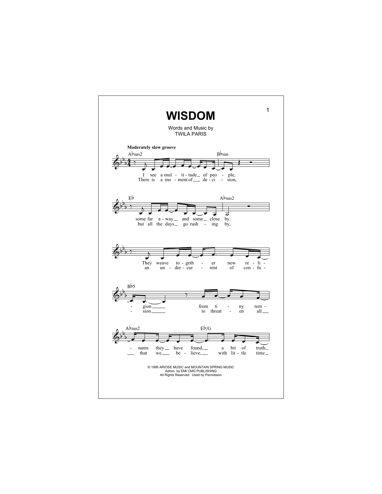 Wisdom Sheet Music