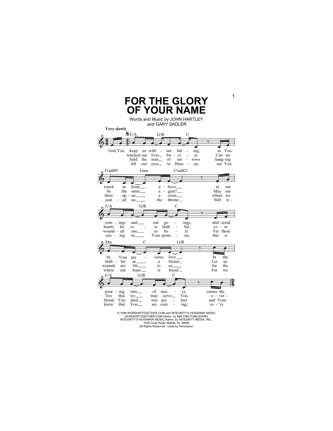 For The Glory Of Your Name (Lead Sheet / Fake Book)