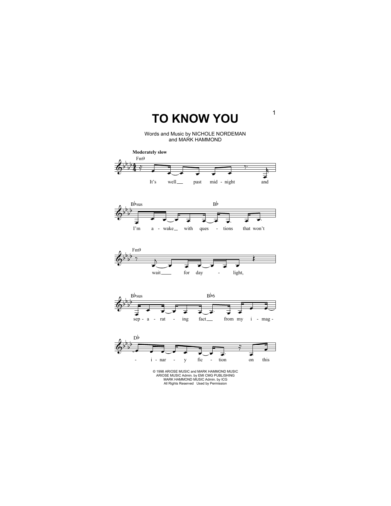 To Know You Sheet Music