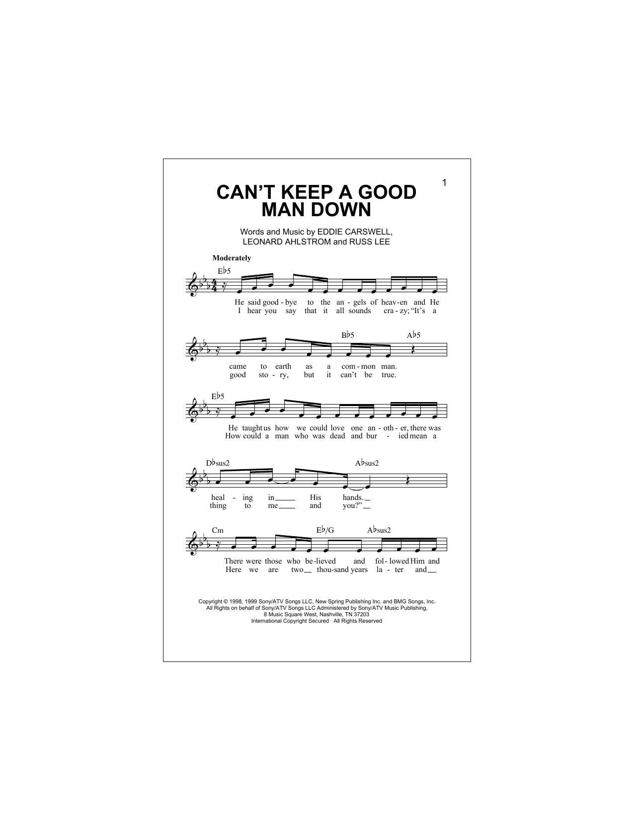 Can't Keep A Good Man Down (Lead Sheet / Fake Book)