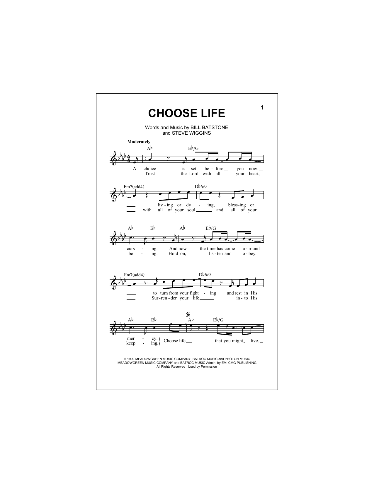Choose Life Sheet Music. Add to wish list. Big Tent Revival ...  sc 1 st  Sheet Music Direct & Choose Life chords by Big Tent Revival (Melody Line Lyrics ...