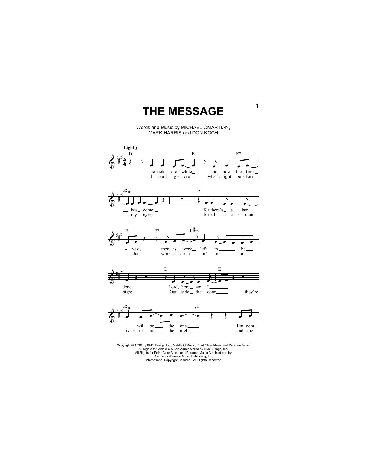 The Message Sheet Music