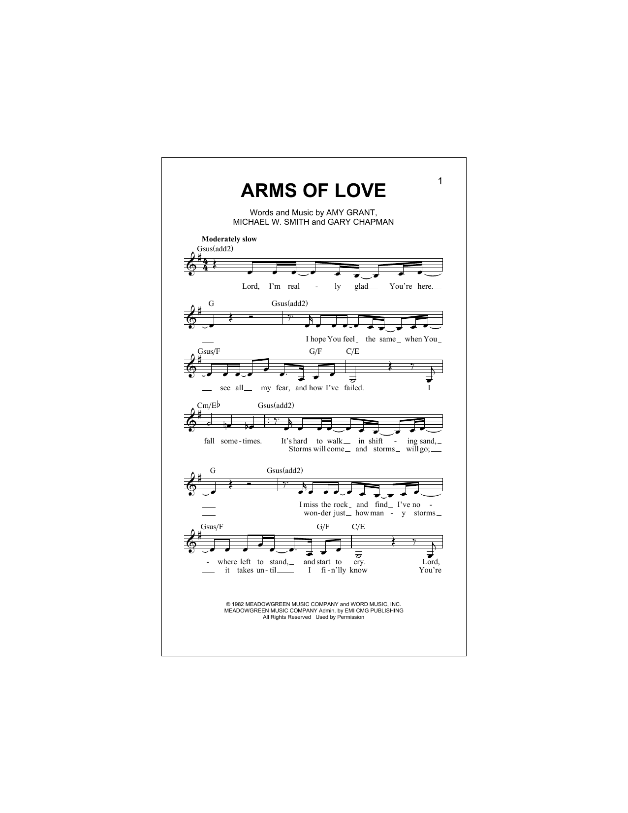 Arms Of Love (Lead Sheet / Fake Book)