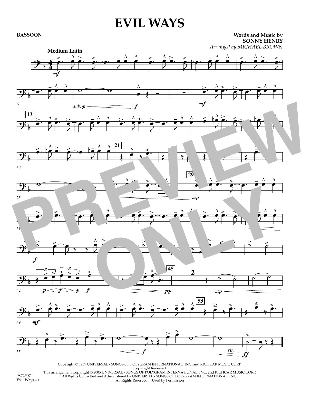 Evil Ways - Bassoon (Concert Band)