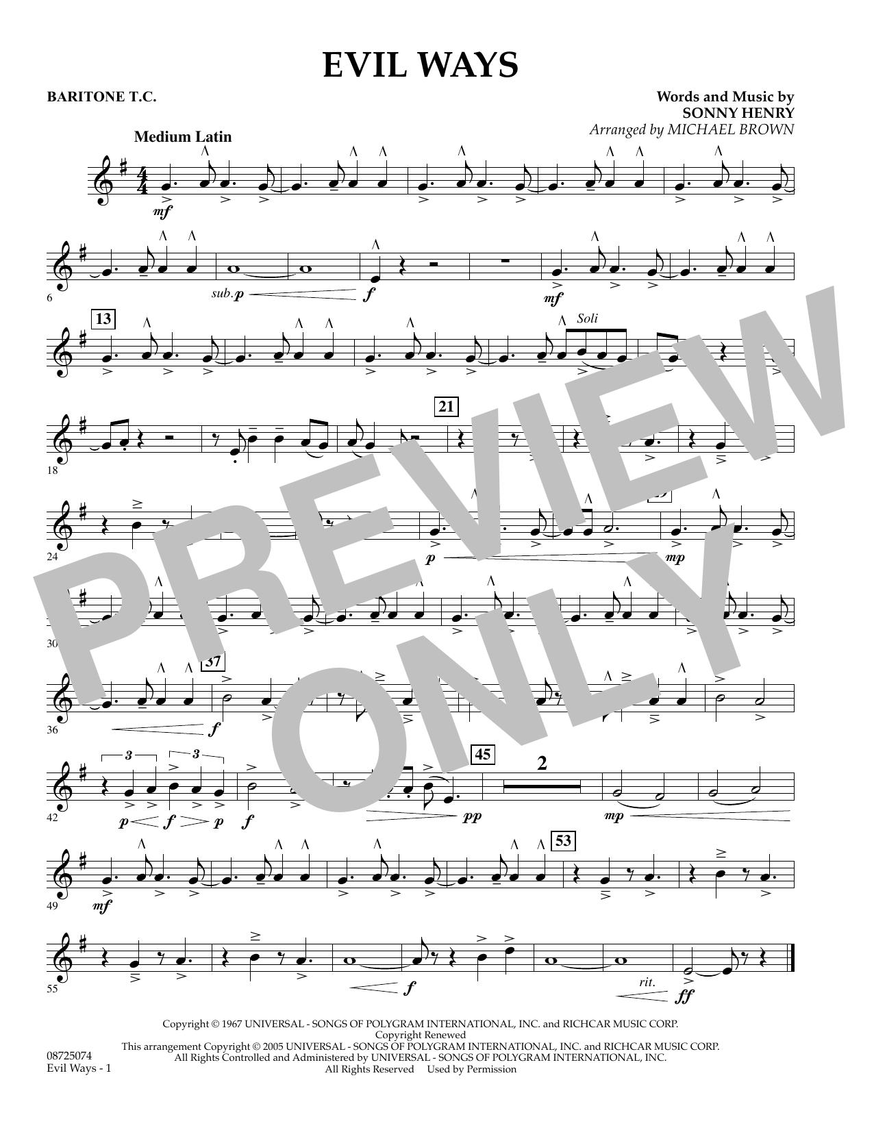 Evil Ways - Baritone T.C. (Concert Band)