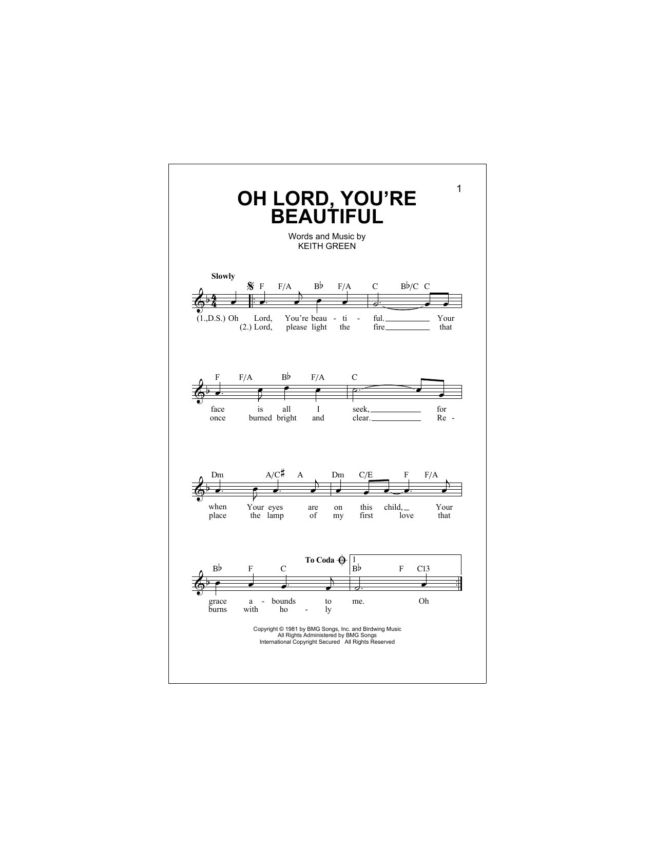 O Lord, You're Beautiful Sheet Music