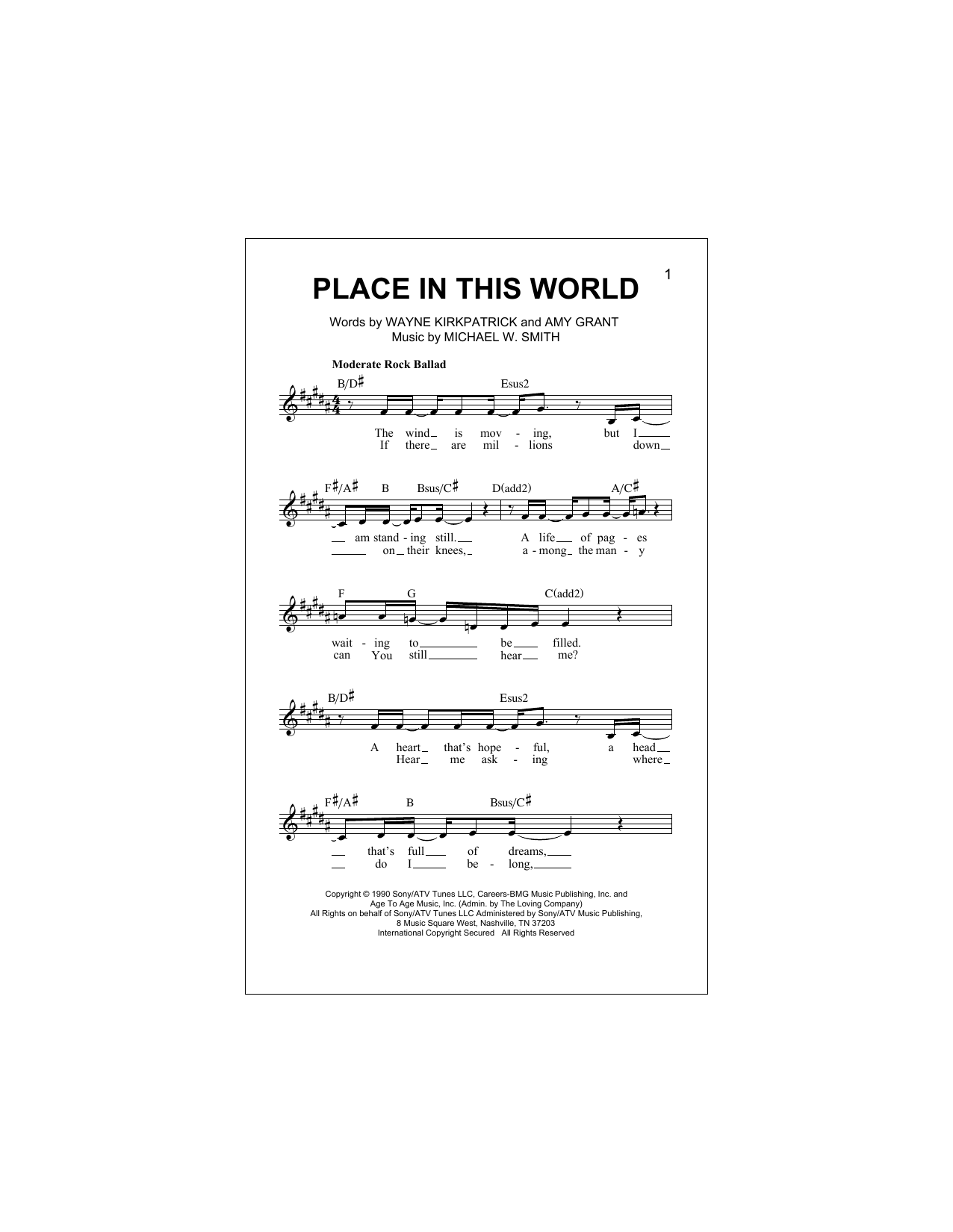 Place In This World (Lead Sheet / Fake Book)