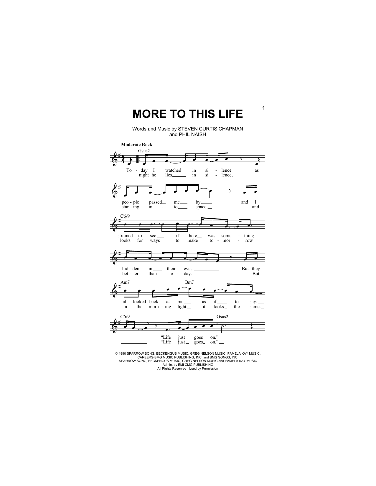 More To This Life Sheet Music