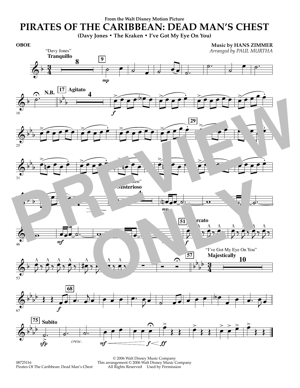 Pirates of the Caribbean: Dead Man's Chest - Oboe (Concert Band)