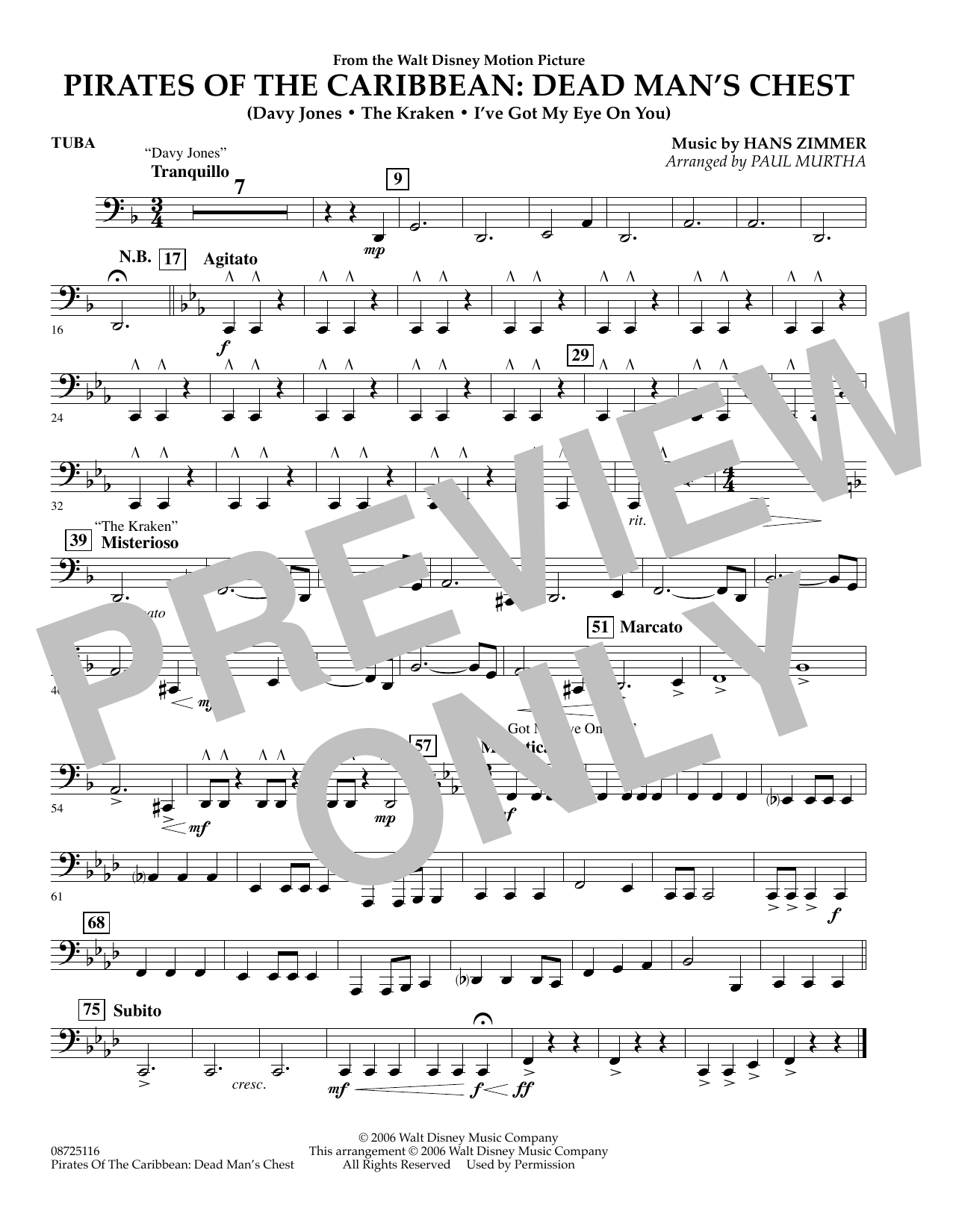 Pirates of the Caribbean: Dead Man's Chest - Tuba (Concert Band)