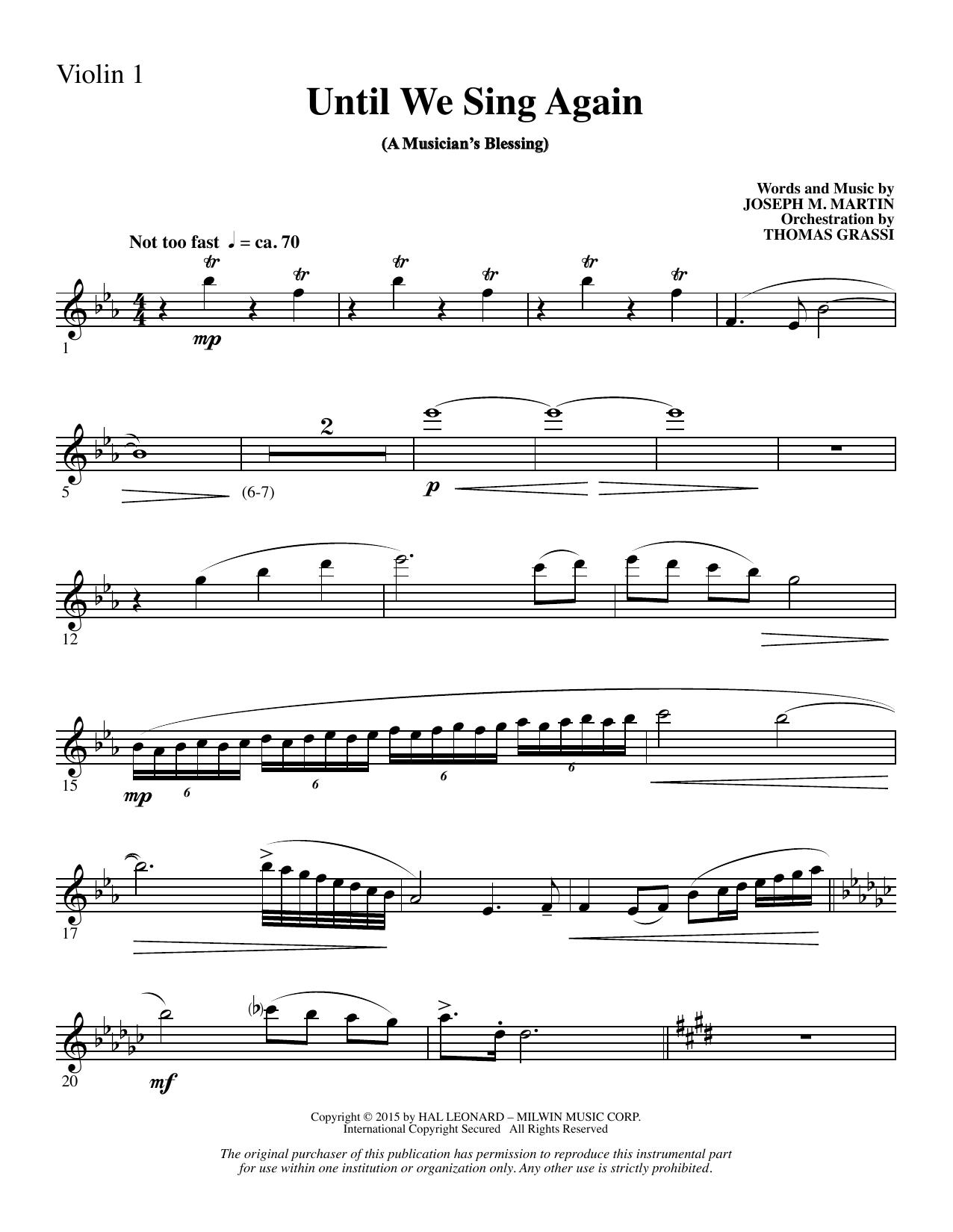 Until We Sing Again - Violin 1 (Choir Instrumental Pak)