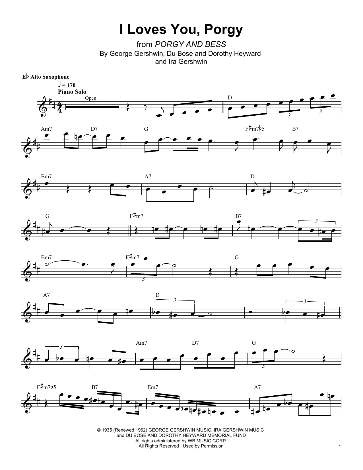 I Loves You, Porgy Sheet Music