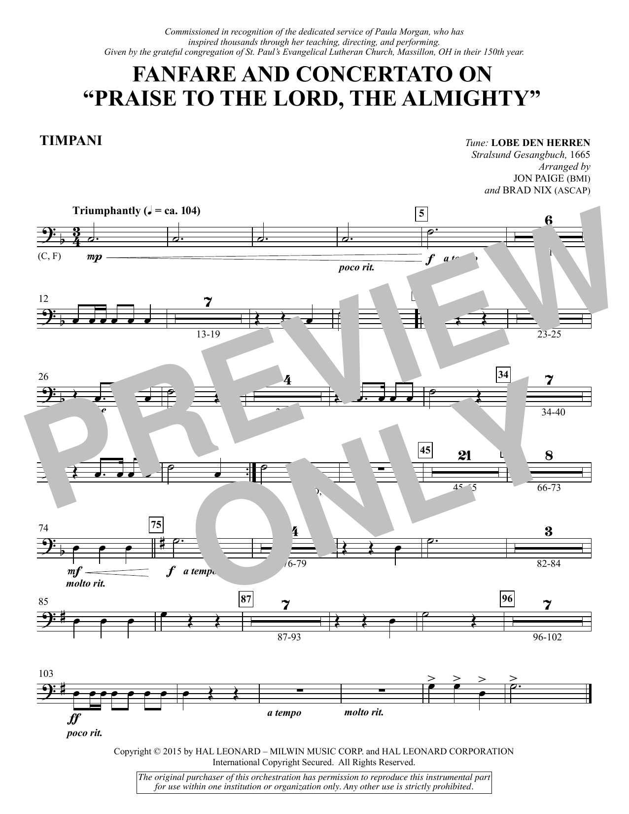 """Fanfare and Concertato on """"Praise to the Lord, the Almighty"""" - Timpani (Choir Instrumental Pak)"""