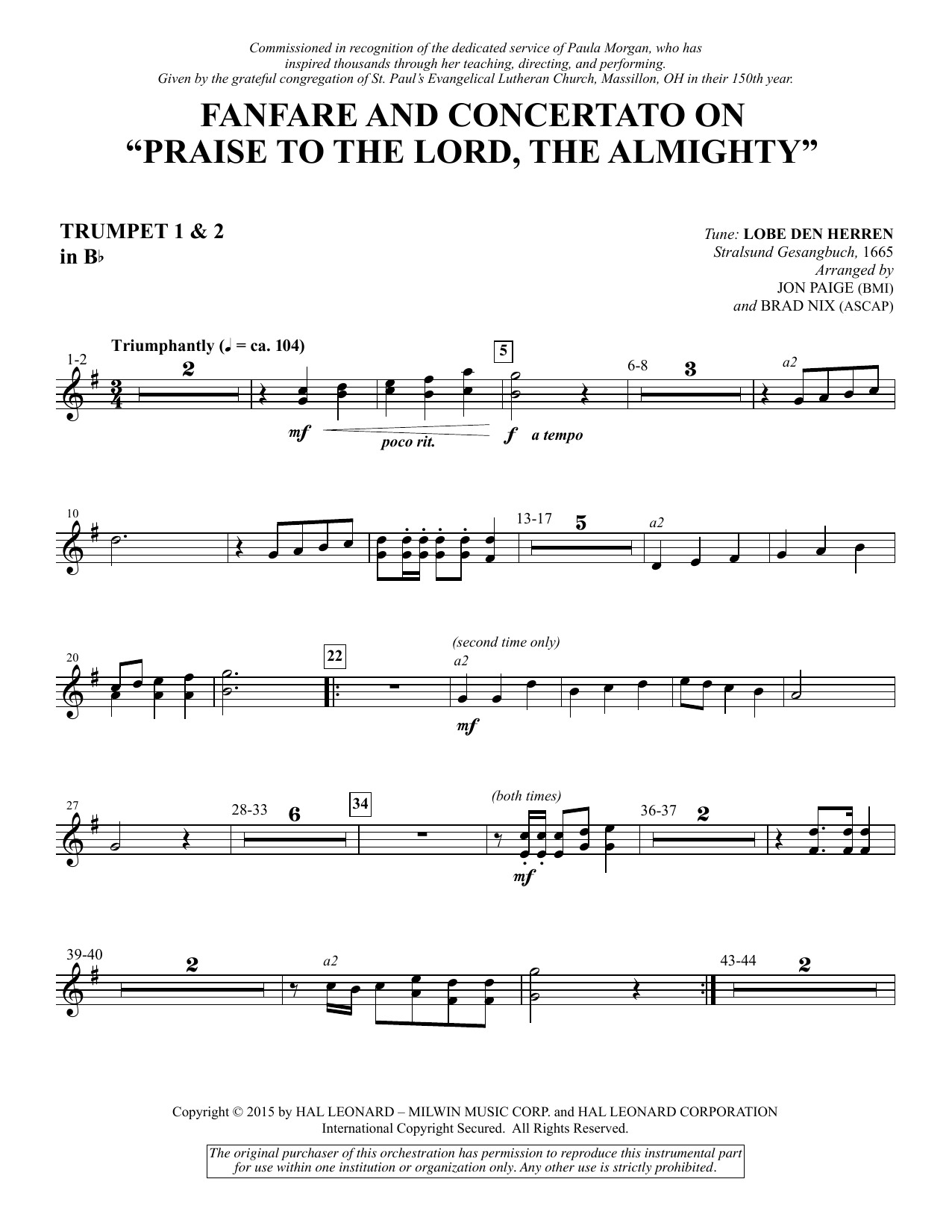 """Fanfare and Concertato on """"Praise to the Lord, the Almighty"""" - Bb Trumpet 1,2 Sheet Music"""
