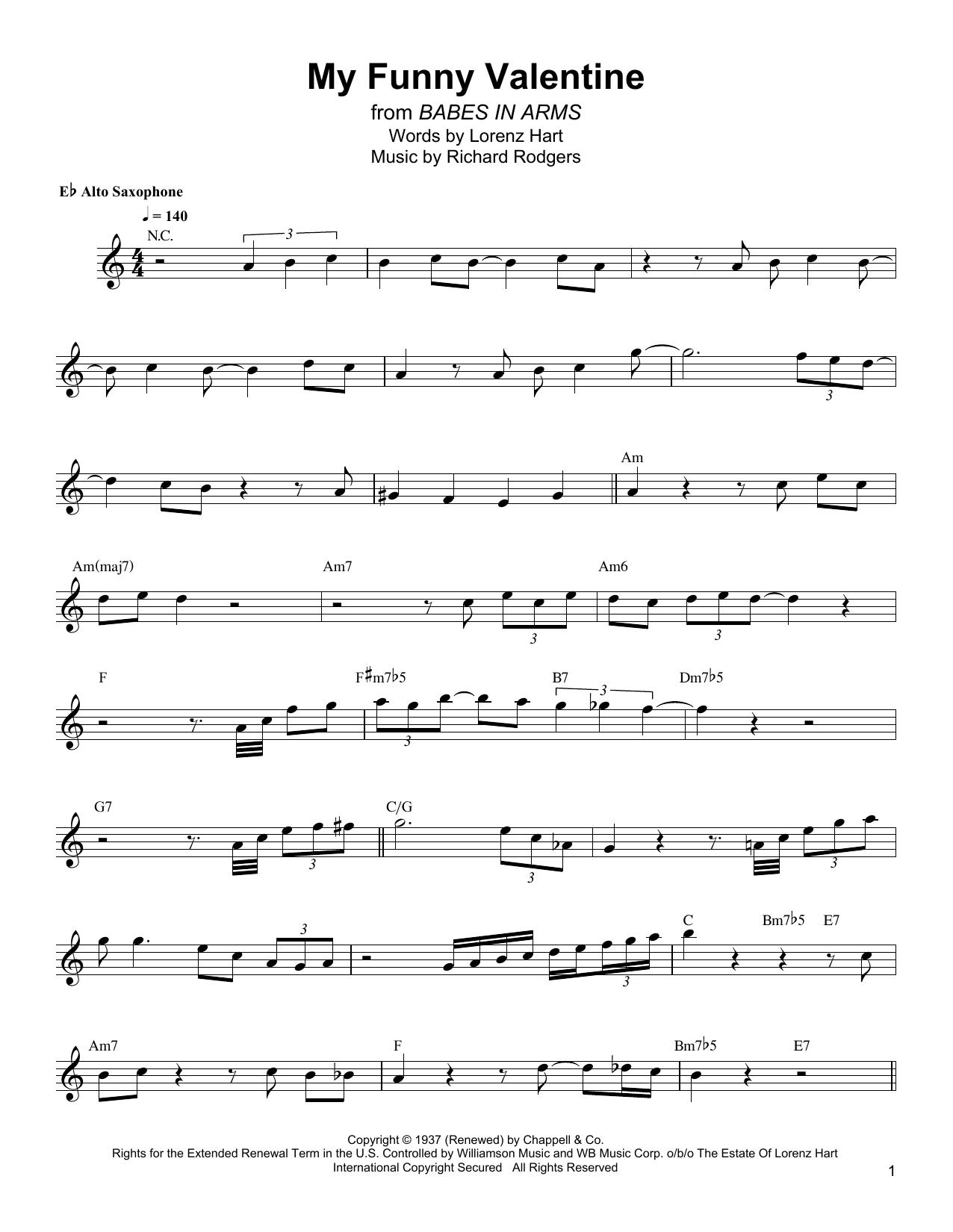 My Funny Valentine (Alto Sax Transcription)