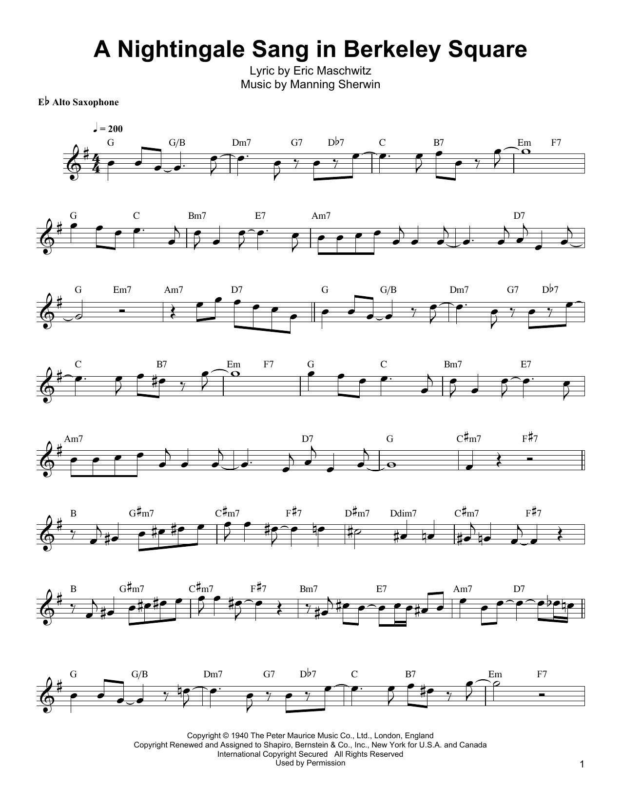 A Nightingale Sang In Berkeley Square Sheet Music