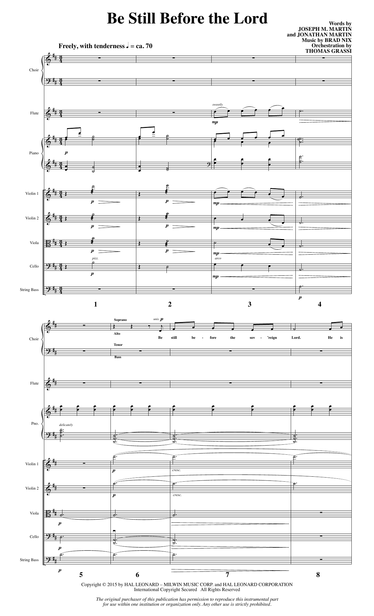 Be Still Before the Lord (COMPLETE) sheet music for orchestra/band by Brad Nix, Jonathan Martin and Joseph M. Martin. Score Image Preview.