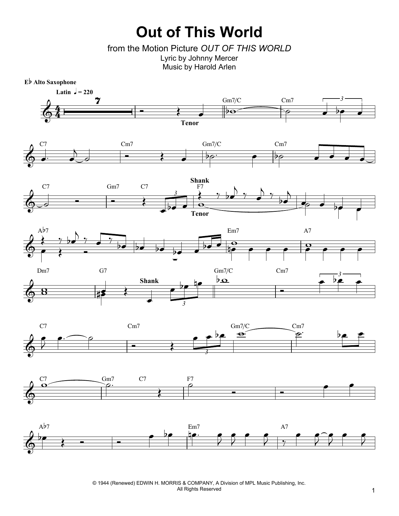 Out Of This World Sheet Music