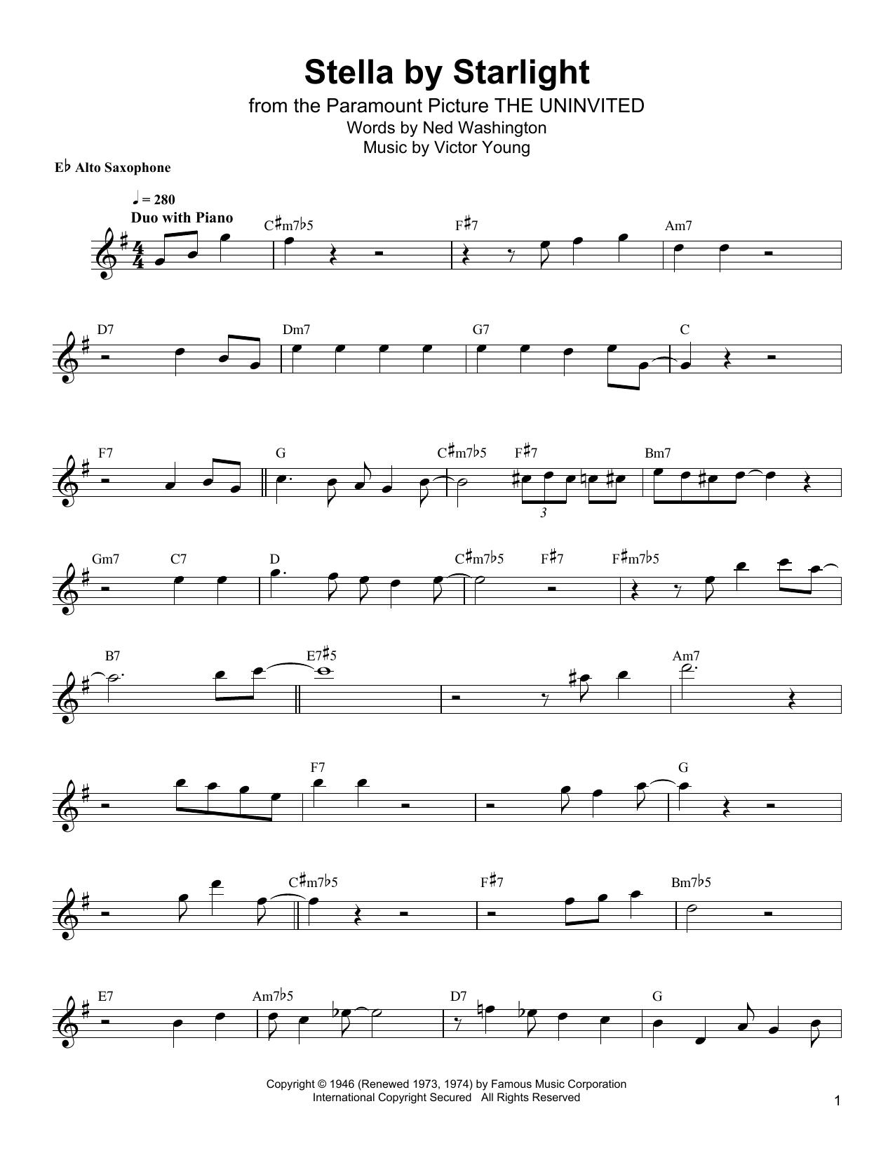 Stella By Starlight (Alto Sax Transcription)