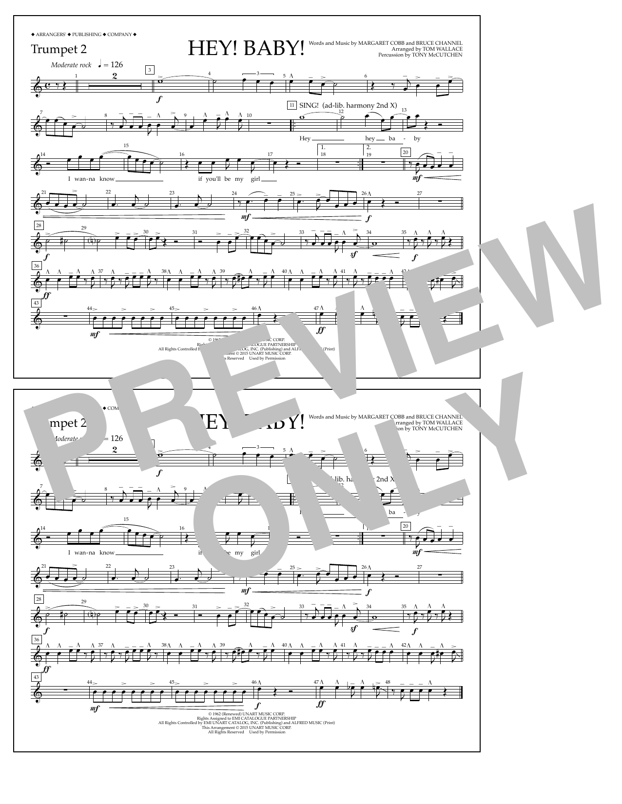 Hey! Baby! - Trumpet 2 (Marching Band)