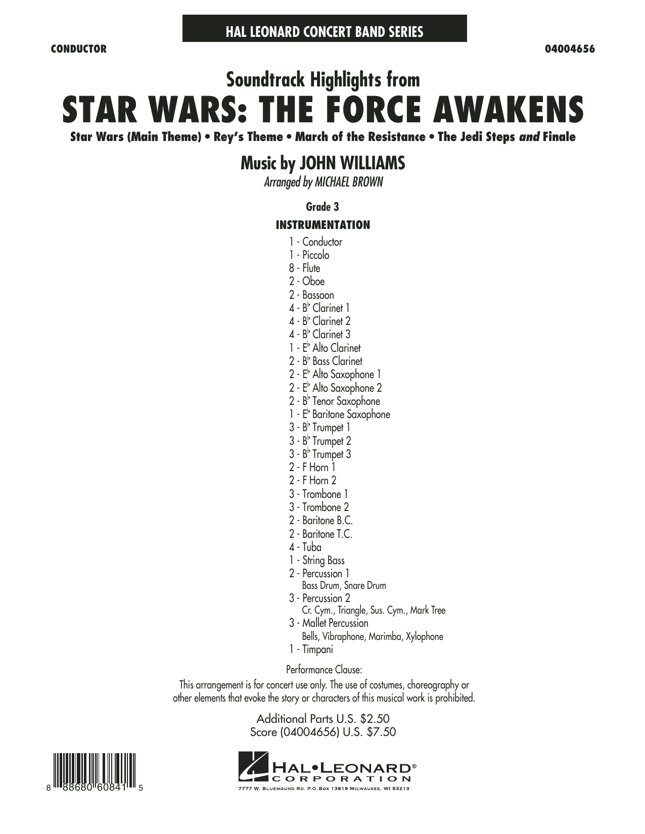 Soundtrack Highlights from Star Wars: The Force Awakens - Conductor Score (Full Score) (Concert Band)