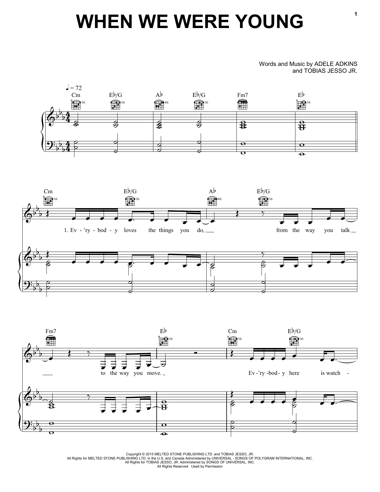 When We Were Young Sheet Music