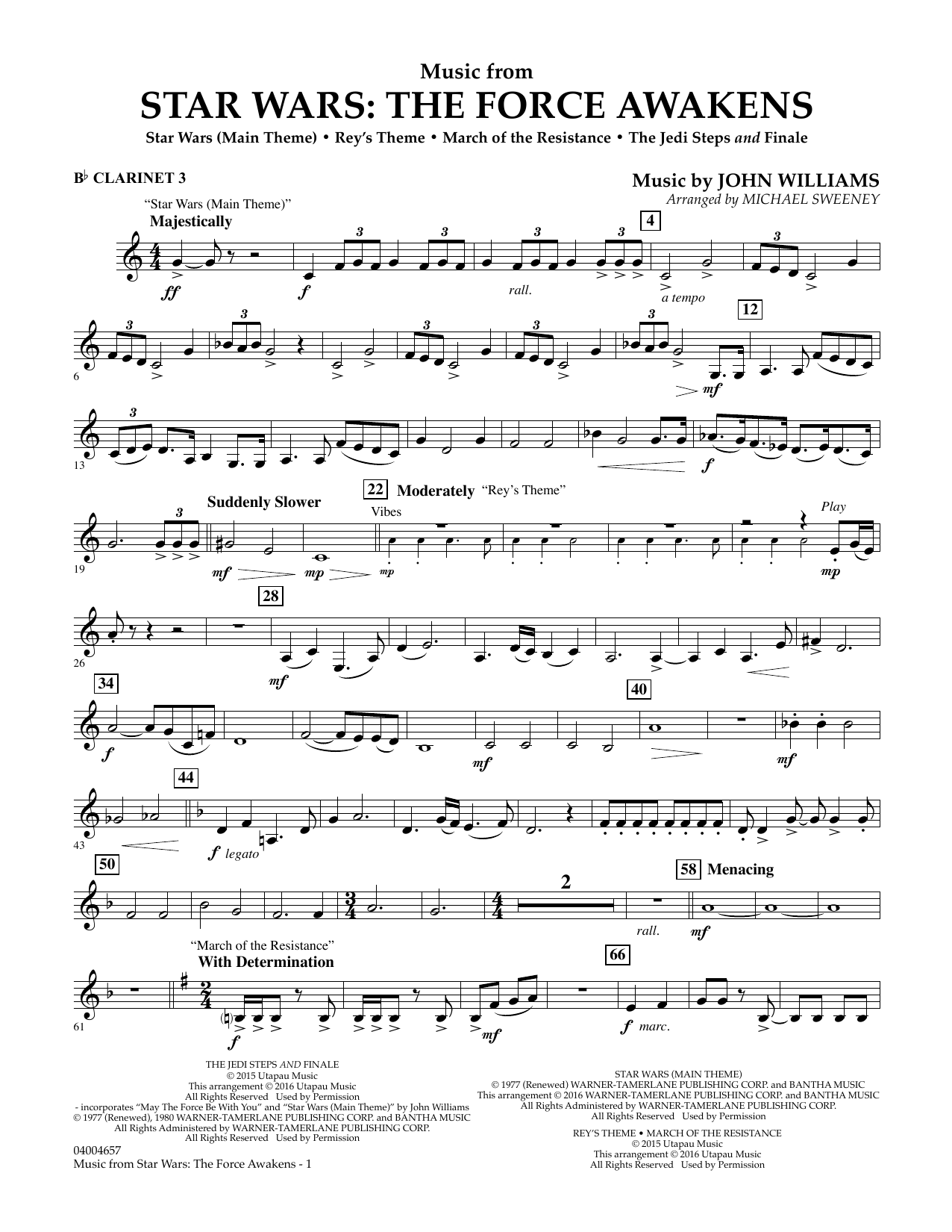 Music from Star Wars: The Force Awakens - Bb Clarinet 3 (Concert Band)
