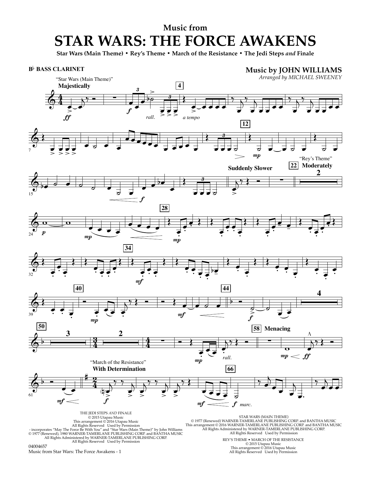 Music from Star Wars: The Force Awakens - Bb Bass Clarinet (Concert Band)